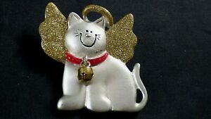 Vintage-Angel-Cat-Kitty-Brooch-Pin-With-Gold-Glitter-Wings-Halo-Bell-AJMC-Silver