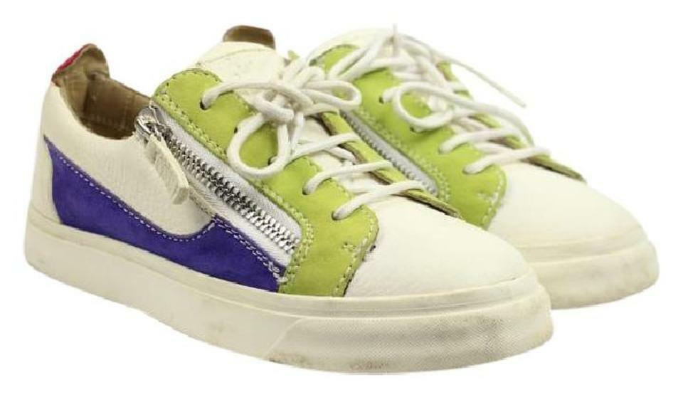 Giuseppe Zanotti White Purple Green Low Top Sneakers 35.5 Athl Sneakers Gzsty07
