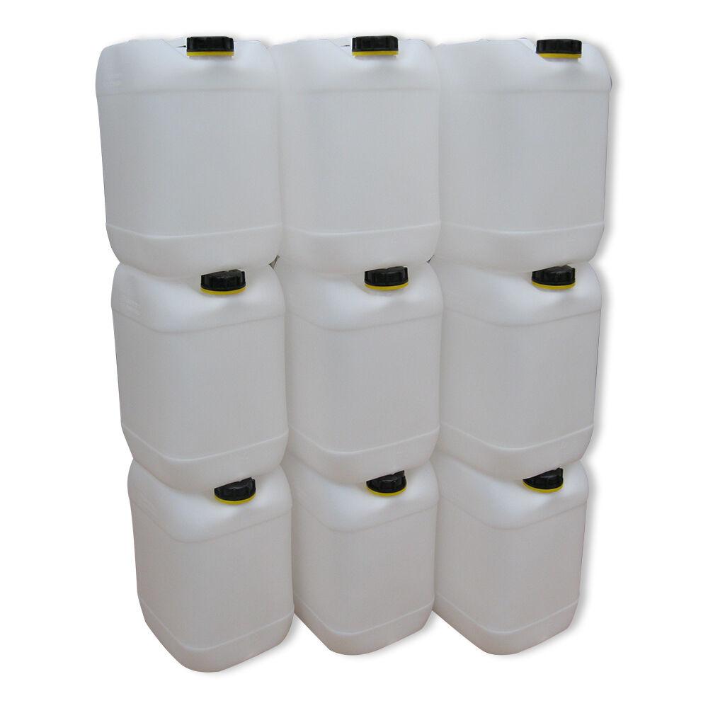 9 x 20 Liter weiß Behälter Plastik Kanister Wasserbehälter Camping Outdoor Box.