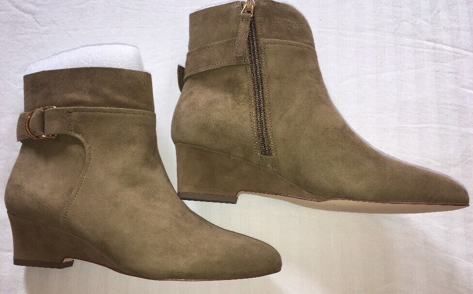 Nine West Booties 8.5 Jabali Suede Ankle Boot $119 Beige Wedge