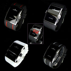NEW-Popular-Women-039-s-Men-039-s-Unisex-LED-Digital-White-Black-Sports-Wrist-Watch