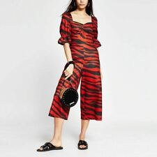 River Island Womens Red Tiger Print Sweetheart Neck Jumpsuit