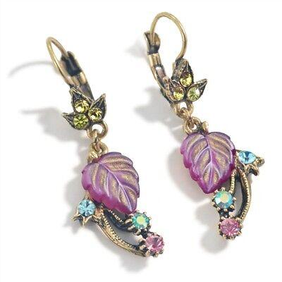 Sweet Romance Cherries Jubilee Crystal /& Glass Leaves Post Earrings ~Made in USA