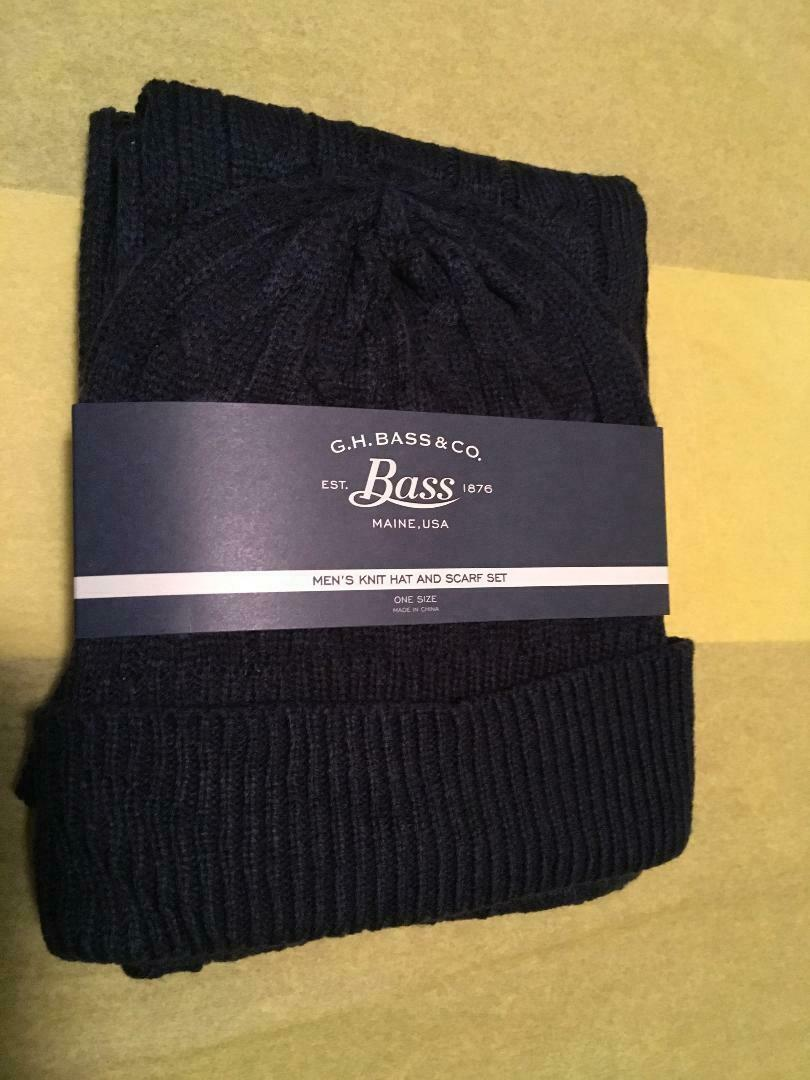 Raised Knit Navy Blue 2 pc. Knitted Hat & Scarf Set GH Bass Same Day Ship