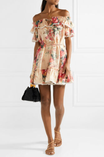ZIMMERMAN Laelia Off-the-Shoulder Floral Print Lin
