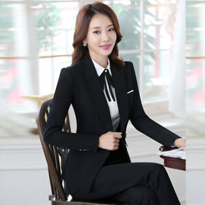 Image Is Loading Fashion Black Navy Blue Women Suits Amp Blazers