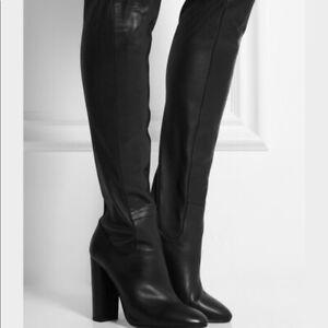 Boden Ladies Kensington Black Leather Stretch Knee High Boots Az219 Brand New Ebay