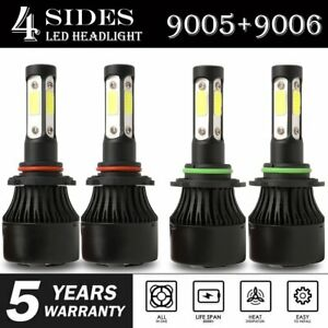 4-Side-9005-9006-Combo-LED-Headlight-Kit-High-Low-Beam-Bulb-6000K-4800W-720000LM