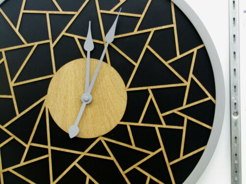 """HERMLE  NEW 16/""""    WALL CLOCK  WITH WOODEN GEOMETRIC FILIGREE DESIGN HM-31011"""