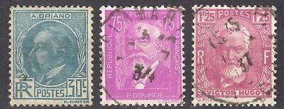 +++ Timbres Yt N°291 A 293 Briand / Doumer / Hugo Obliteres =1€50 +++