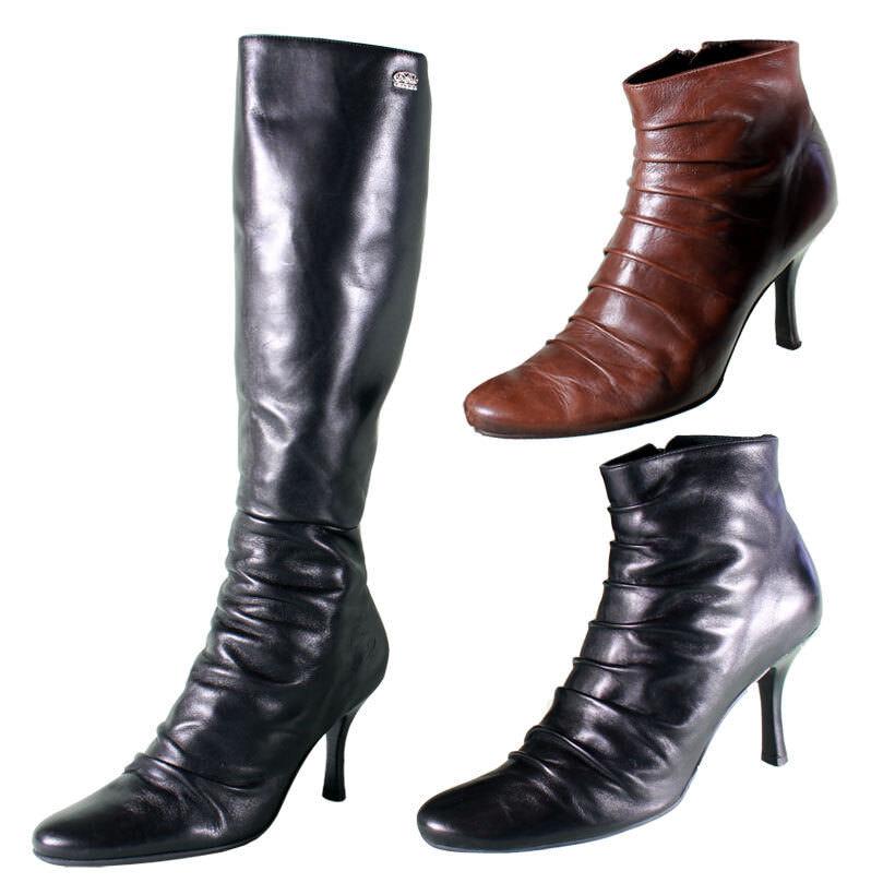 Buffalo Stiefel / Stiefeletten Lederstiefel schwarz rund Echtleder mit Raffung