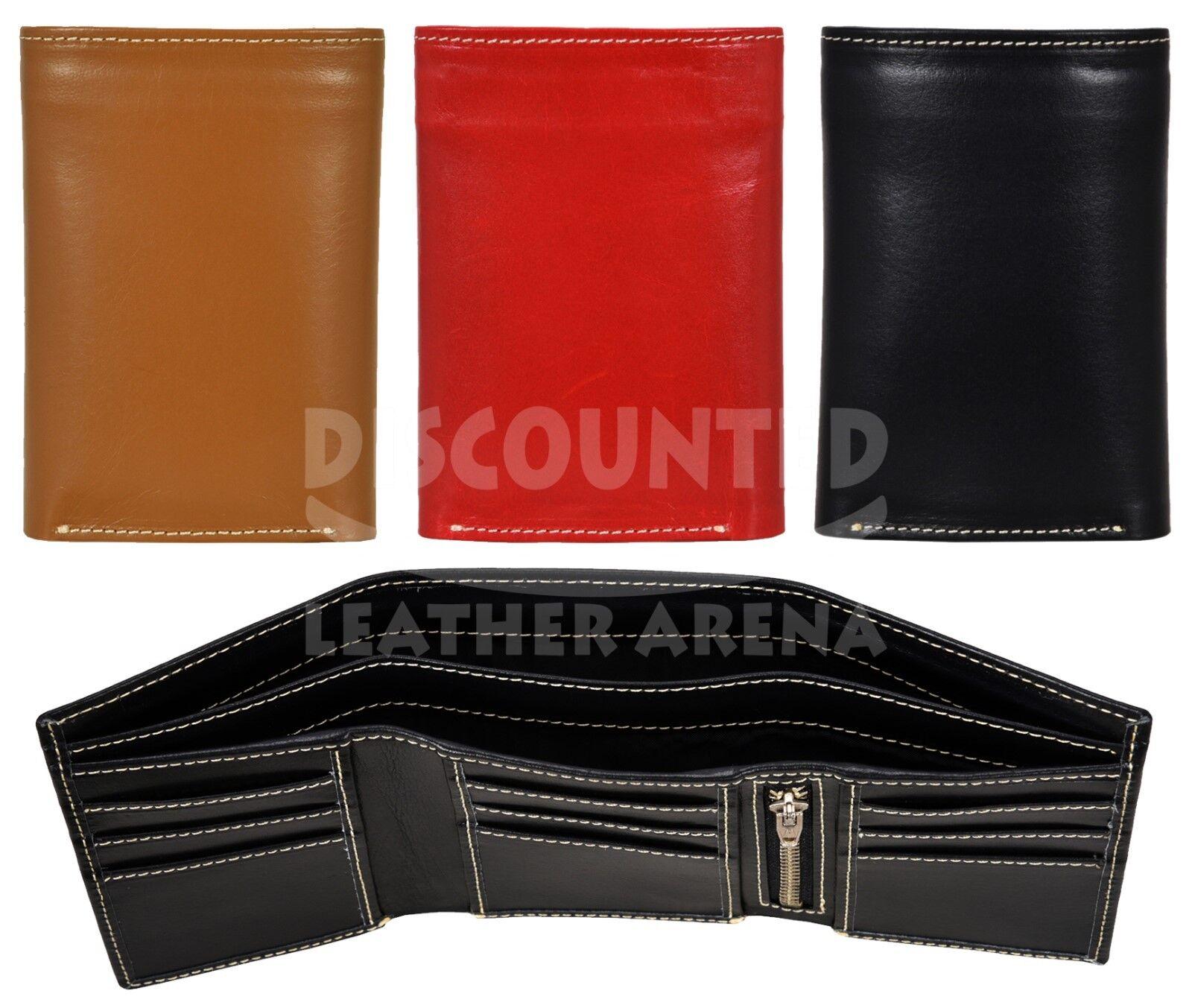 Mens Real Leather Wallet Soft Credit Card Slim Money Holder Pocket Trifold Purse