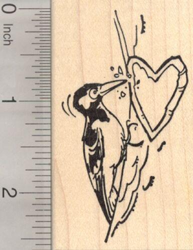 Valentine/'s Day Woodpecker Rubber Stamp Bird with Heart H23408 WM