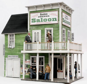 BANTA-2111-HO-ROUBIE-039-S-SALOON-Model-Railroad-Building-Wood-Kit-FREE-SHIP