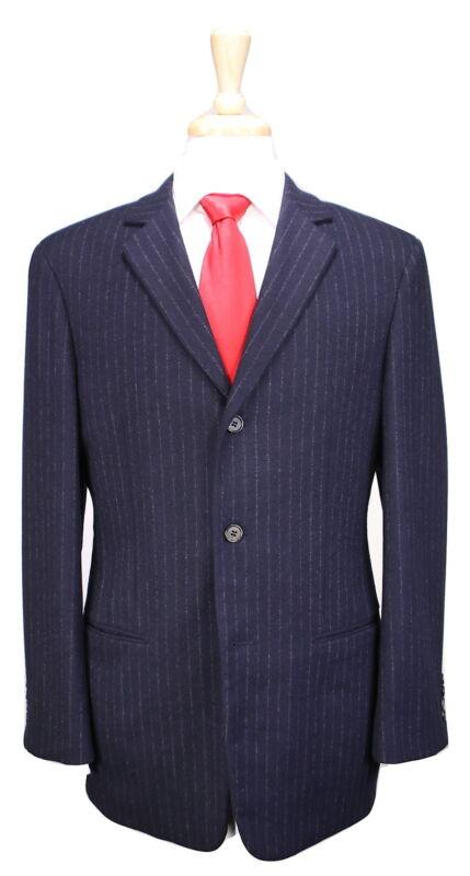 Bean Pole Homme Marineblau Nadelstreifen Wolle Flanell 3-btn Luxus Anzug 38r