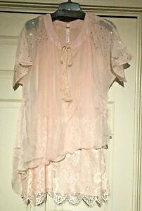 Pretty-Angel-layered-tunic-top-sheer-flowing-lace-Pink-S-M-L-XL-lined