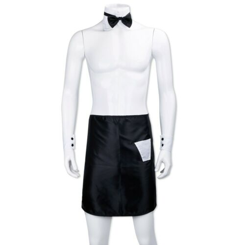 Men Tuxedo Lingerie Set Waiter Collared Bow Tie Cuffs Costume Thong Boxer Briefs