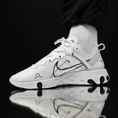 Nike React Element 55 DM Blanc Noir Homme Baskets Baskets UK Taille 6 12 | eBay