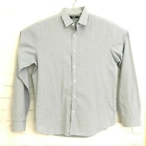 Theory-Mens-Long-Sleeve-Button-Front-Shirt-Blue-and-White-Sz-L-LG
