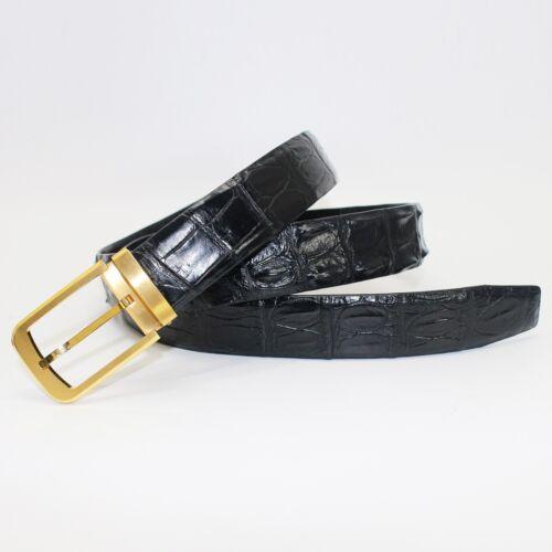 Black W3.5cm Men/'s Belt Genuine Crocodile Alligator Skin Leather Belt HANDMADE