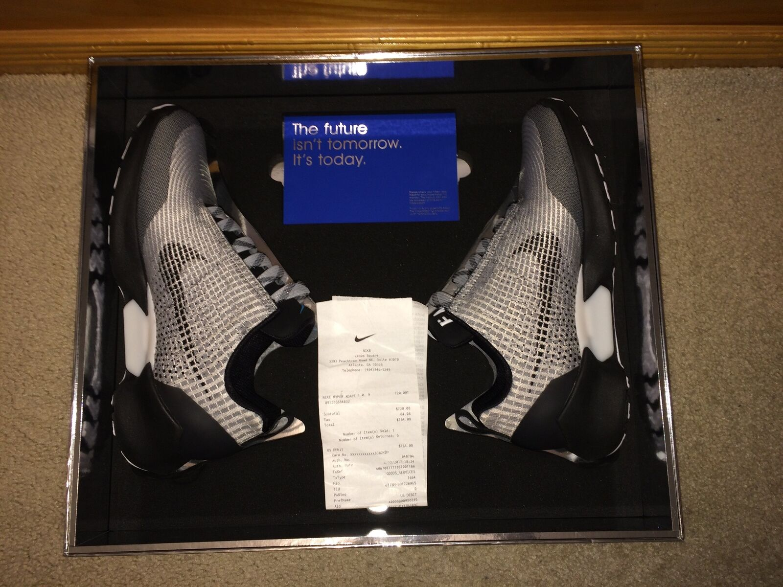 New Nike HyperAdapt 1.0 silver US Size 9 Blue light authentic Hyper Adapt