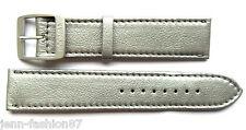 Locman 22 mm Metallic-Silver/Pearl-Grey Lorica Leather Watch Strap w/Buckle NEW
