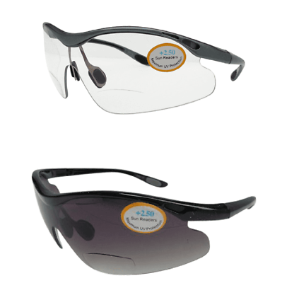 Bifocal High Impact Wrap Side Protective Safety Sunglasses 100/% UV Cycling