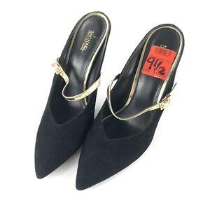 Heels Size 9.5 Black Suede Gold Strap