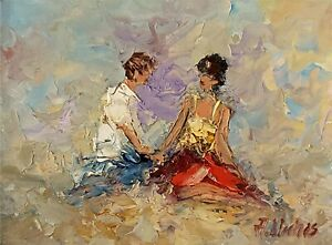 ANDRE-DLUHOS-ORIGINAL-OIL-PAINTING-Man-Woman-Relationship-Together-Couple-Love