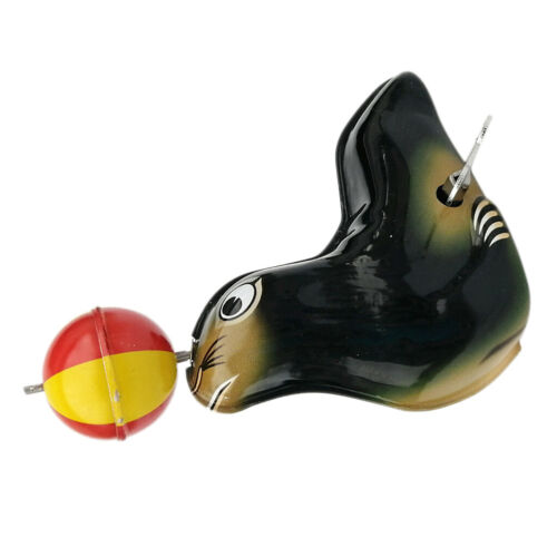 Vintage Style Adult Tin Windup Toys Sea Lion Tumbling Ball Home Collections