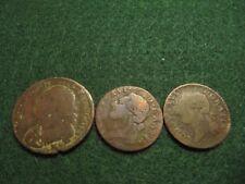 FRANCE LOUIS XVI ca1780s-1790 LOT OF 3 COINS 1/2 SOL (2 PCS) AND 1 SOL LOW GRADE