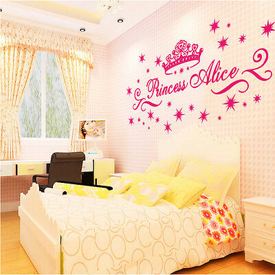 Princess Crown Twinkle Stars Alice 3D Girl Nursery Room Wall Stickers Decal