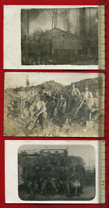 3-x-Foto-AK-1-WK-Militaer-Gruppenfotos-Soldaten-Munitionskolonne-60922
