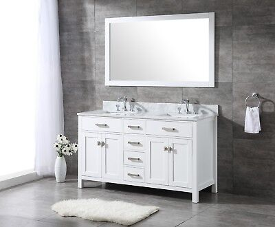 All Wood High End 60 Inch White Shaker Double Bathroom Vanity Free Shipping Ebay