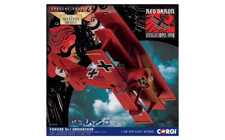 CORGI Fokker DR.1, DR.1, DR.1, Manfred von Richthofen Jasta 11,JG.1, Cappy AerodromeAA38308 de546e