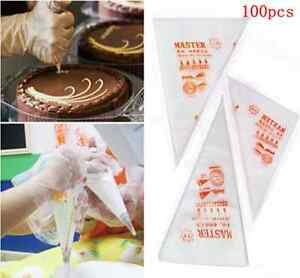 Lots-100PCS-Disposable-Piping-bag-Icing-Nozzle-Fondant-Cake-Decorating-Pastry-JP