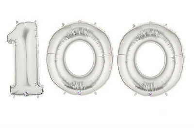 "Party Balloon Numbers /""100/"" Betallic Megaloon 40"" Mylar"