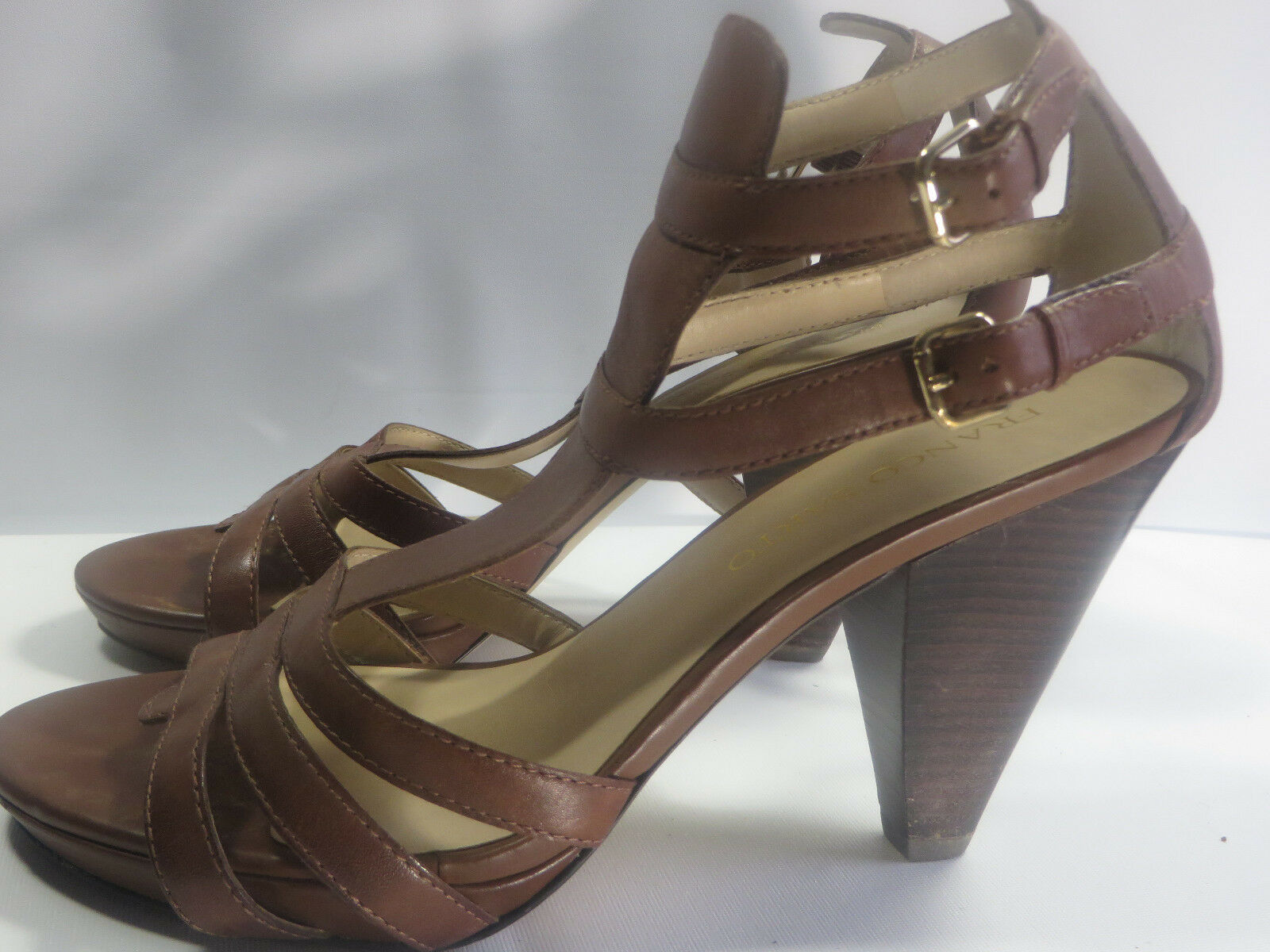 FRANCO SARTO WOMEN STRAPPY BROWN LEATHER HEELED DRESS SANDALSIZE 9.5 M EXUC