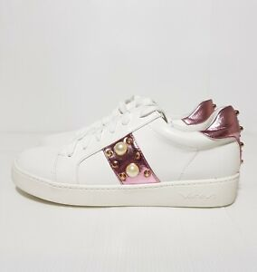 New Vices Women's Shoes Lace Up Sneakers White Studs Pearl EU 39 / US 8.5 / UK 6
