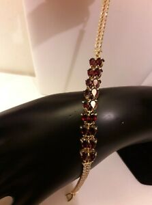 Bracelet Grenat  facettée_Argent 925 sterling solid silver gold garnet bracelet