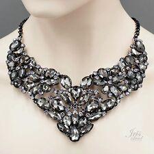 Gorgeous Smokey Black Crystal Rhinestone Chain Bib Statement Necklace 4144 Alloy