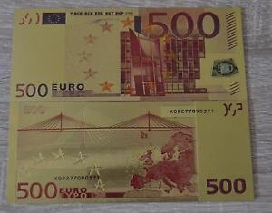 500-Euro-Banknote-Geldschein-in-Gold-mit-Farbe-farbiger-Goldschein-selten-neu