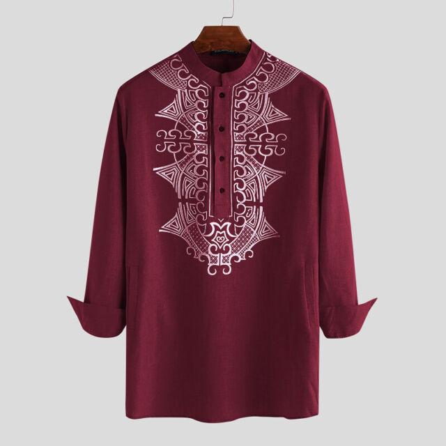 Men/'s Long Sleeve Dashiki T-Shirt Casual Ethnic Loose Party Formal Kurta Blouse