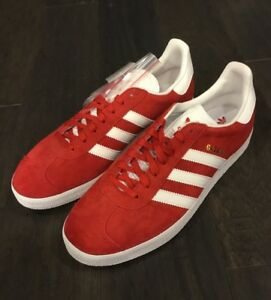 Adidas-Gazelle-S76228-Scarlet-Red-Shoes-Sneakers-New-Men-s-Size-10-5-Suede