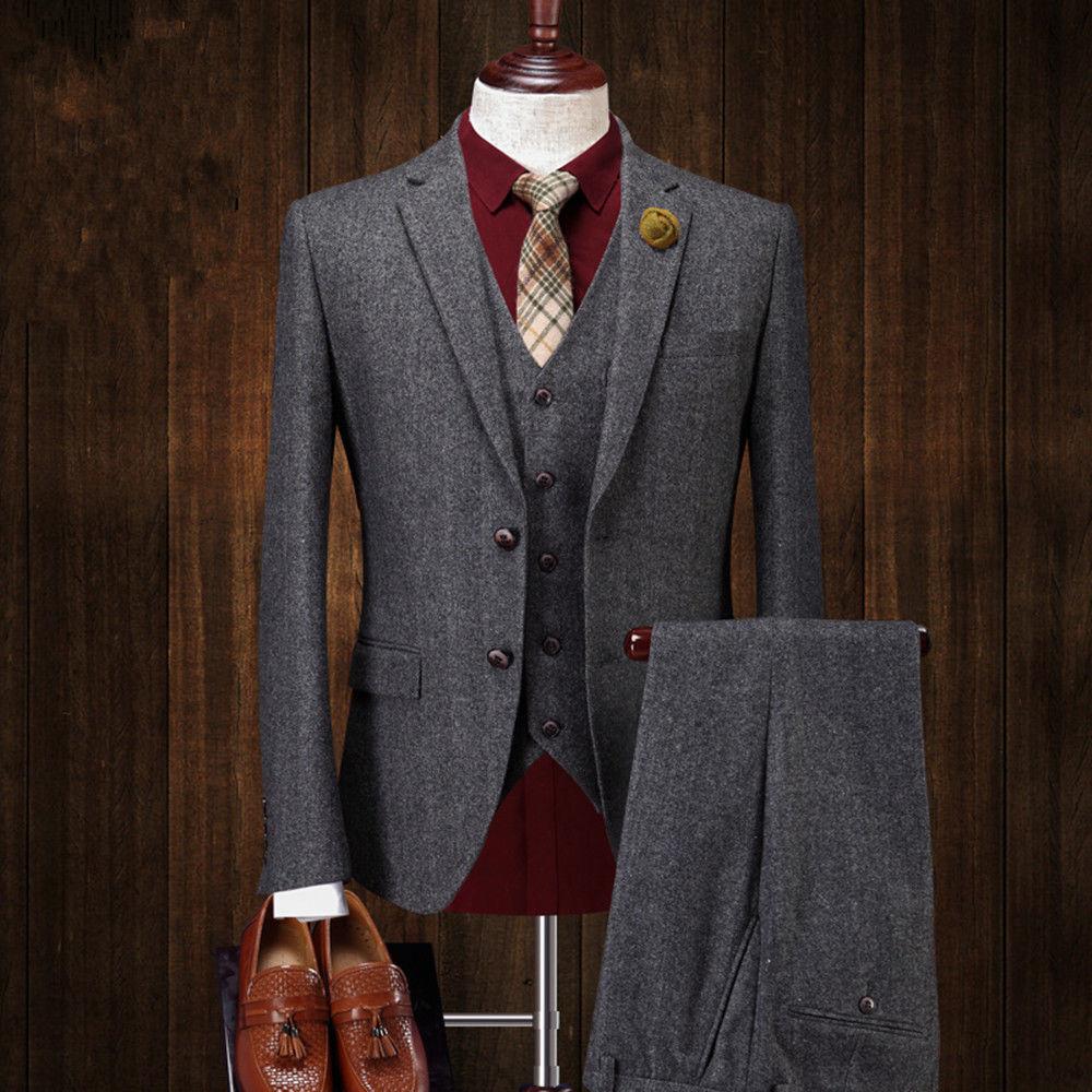 Grey 3 Pieces Tweed Herringbone Men Suit Best Men Formal Business Wedding Tuxedo