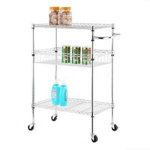 3 Tier Steel Kitchen Cart Trolley Wire Rolling Storage