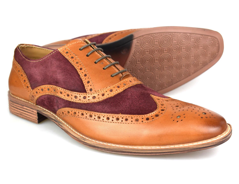 Premium Mens Two Tone Tan Leather Burgundy Suede Brogues 1829TC 1829TC 1829TC Free UK P&P 1b3d7e