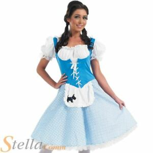 09b9c4d8bfd Details about Ladies Long Dorothy Fairy Tale Book Week Fancy Dress Costume  Adult Womens Outfit