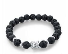 buddha head bracelet beaded black silver spiritual meditation yoga jewelry cute