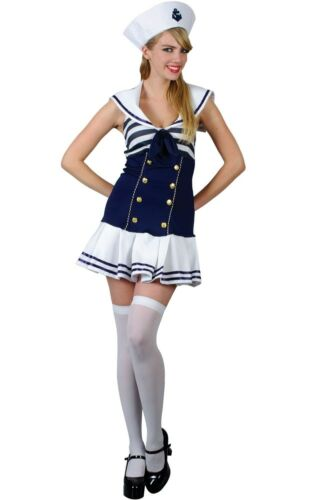 Adult Saucy SAILOR GIRL Ladies Fancy Dress Pirate Ahoy Costume UK Size 6-24